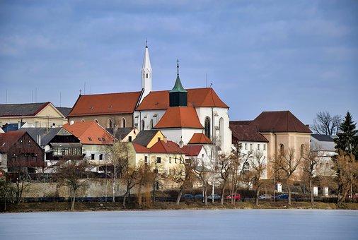 Jindřichův Hradec, Pond, Church, Winter, Vajgar