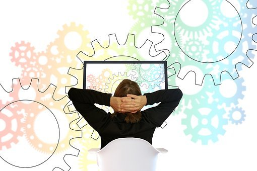 Gears, Work, Relax, Relaxation, Woman, Move, Monitor