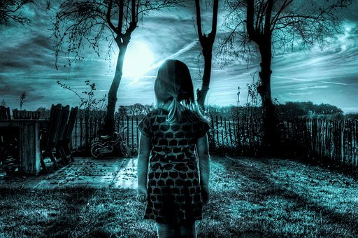 Blue, Girl, Sad, Depressed, Sky, Yard, Shades Of Blue