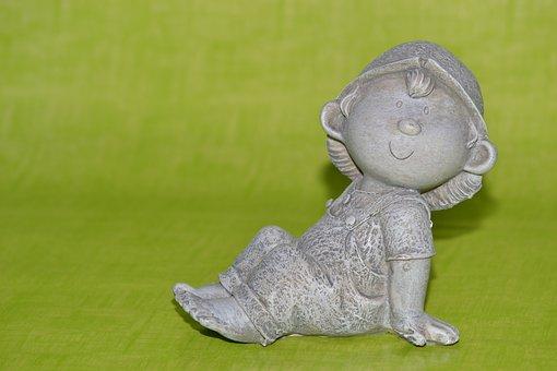 Imp, Troll, Close, Ceramic Figures, Ceramic, Sit, Boy