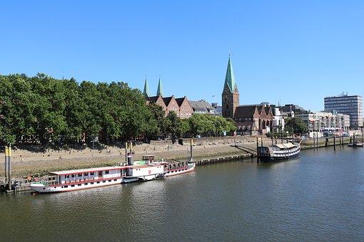 Bremen, Weser, Water, Kill, Bridge, Ships, River