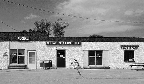 Cafe, Post Office, Store, Restaurant, Black And White