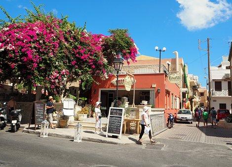 Crete, Greece, Bougainvillea, Restaurant, Flowers