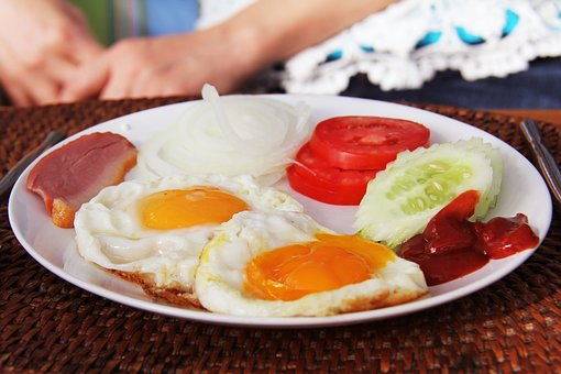 Breakfast, Fruits, Egg, Meat, Yummy, Delicious