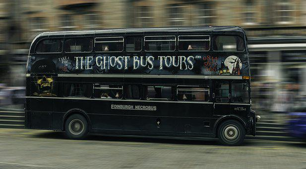 Edinburgh, Lawnmarket, Bus, Double Decker, Ghost Tours