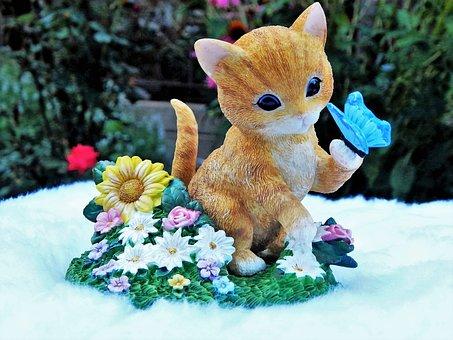 Kitten, Kitty, Cat, Butterfly, Flower, Adorable