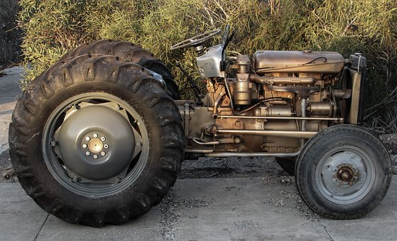 Tractor, Old, Renovated, Machinery, Vehicle, Golden