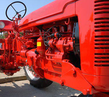 Red Tractor, Engine, Retro, Motor, Power, Tractor