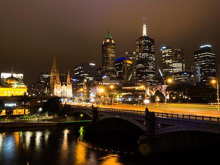 Melbourne, Yarra River, Night Time, Victoria, Cbd