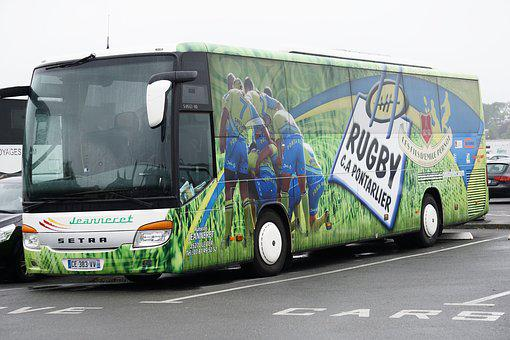 Bus, Support, Players, Sport, Rugby, Tranport, Road