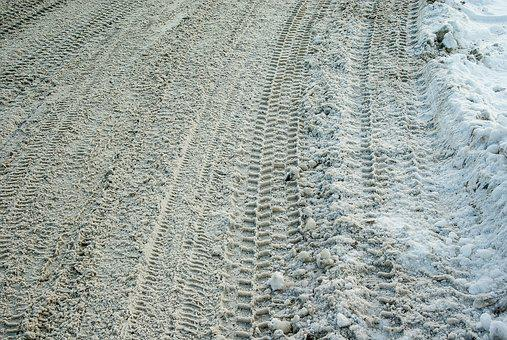 Road, Snow, Tire Tracks, Icy Road