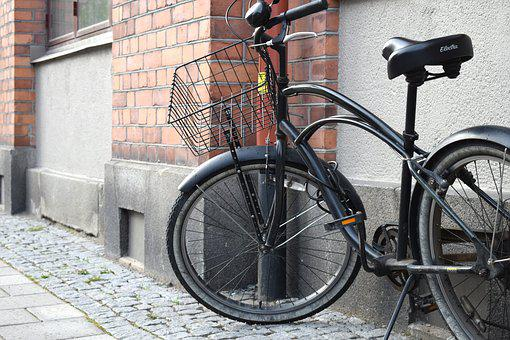 Black, Cycle, Brick, Spokes, Wheel, Basket, Bikes, Air