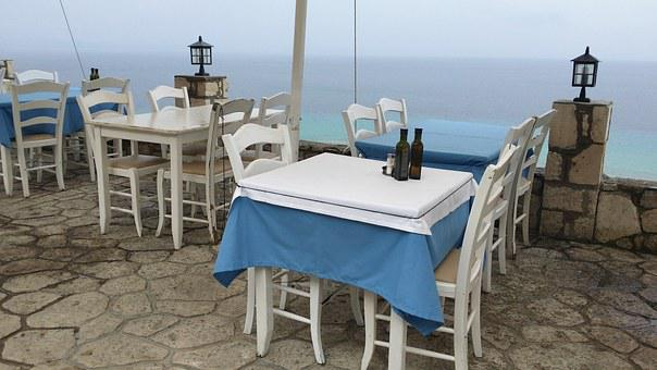 Restaurant, Greece, Dinner, Table, Tablecloth, Sea View