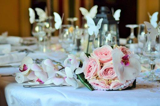 Bouquet, Wedding Bouquet, Table, Table Wedding, Cutlery