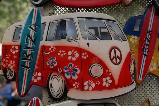 Bus, Vw, Vacations, Ibiza, Hippy Market, Island, Red
