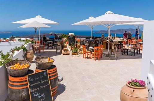 Santorini, Oia, Restaurant, View, People, Person