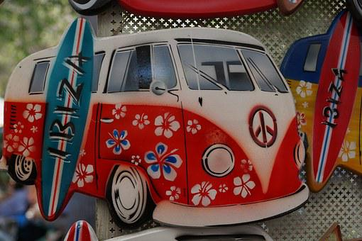 Bus, Vw, Holiday, Ibiza, Hippy Market, Island, Red
