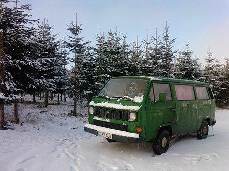 Snow, Green, Truck, Bus, Winter, Stuck Up