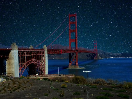 Bridge, Night, Sky, Star, America, Architecture, City
