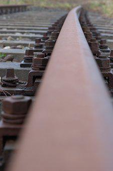 Railway, Rails, Rust, Steel, Iron, Screw, Clamp, Train