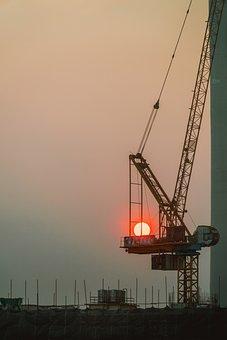 Sunset, Sun, Crane, Silhouette, Sky, Mood, Dusk