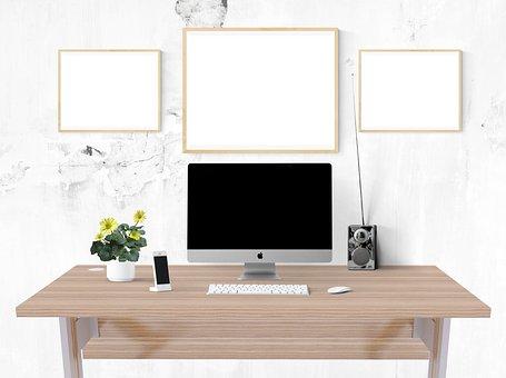 Poster, Frame, Desk, Computer, Iphone, Radio