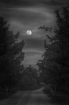 Moon, Bw, Atmosphere, Mystical, Clouds, Mood, Fantasy