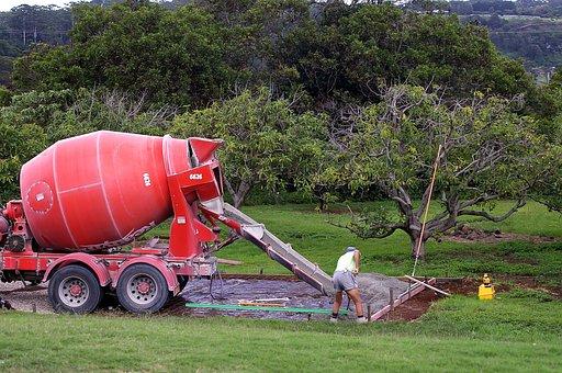 Concrete, Mixer, Pouring, Foundation, Work, Building