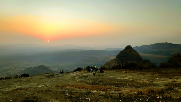 Sunset, Pune, India, Outdoor, Landscape, Hills