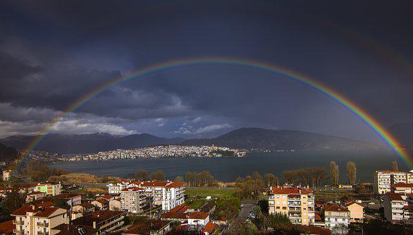 Rainbow, Kastoria, Greece, Lake, Nature, Water, Flying