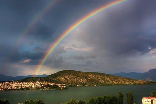 Rainbow, Kastoria, Lake, Nature, Water, Flying, Angel