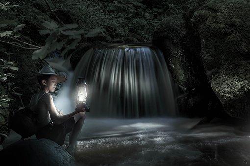 Waterfall, Boy, Fantasy, Light, Landscape, Forest