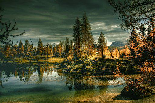 Lago Federa, Dolomites, Alpine, Mountains, Landscape