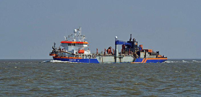 Mouth Of The Elbe River, North Sea, Working Ship