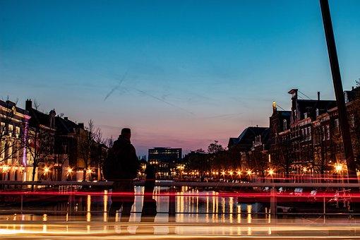 Night, Bridge, City, Water, Light, In The Evening