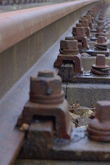 Railway, Rails, Gleise, Screw, Rust, Steel, Train