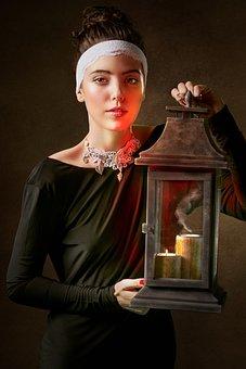 Portrait, Girl, Lantern, History, Vintage, Search, Hope