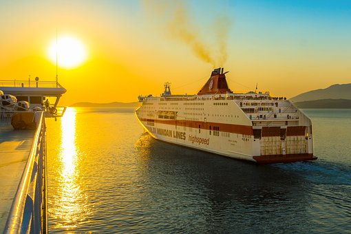 Ship, Mediterranean, Vacations, Ferry, Sunset, Cruise