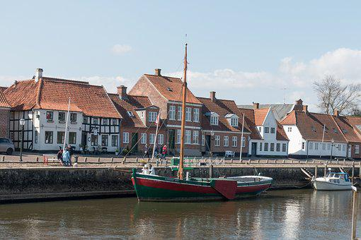 Wooden Ship, Ship, Water, å, Ribe, Wadden Sea, Houses
