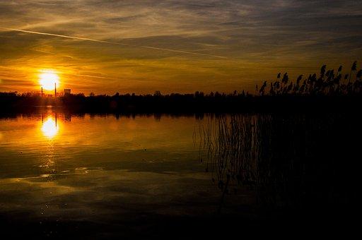 Sunset, Lake, Pogoria, Landscape, Reflection, Nature