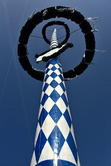 Maypole, Diamonds, Bavaria, White, Blue, Pattern, Tree
