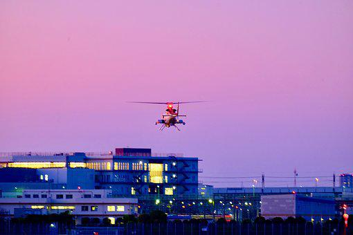 Heliport, Helicopter, Landing, Sunset, Twilight