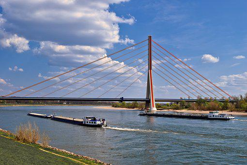 Rhine, River, Water, Landscape, Waters, Mood, Bridge