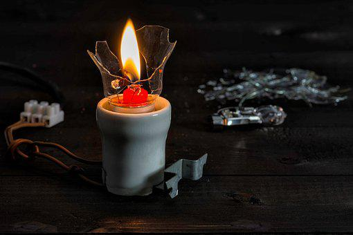 Current, Candle, Light, Porcelain, Shard, Wire, Wood