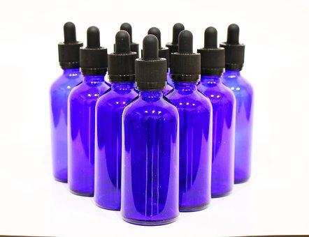 Blue, Glass, Dropper, Bottles, 100 Ml