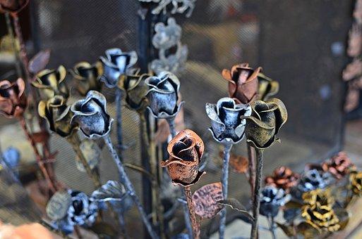 Roses, Metal, Metalwork, Blacksmithing, Artistic
