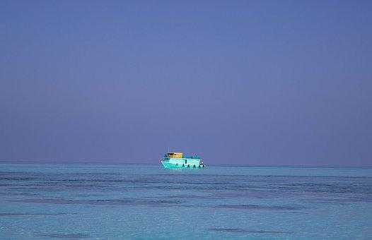 Blue Boat At Sea, Ferry, Boat, Maldives, Aqua, Shipping