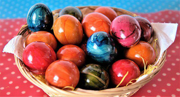 Easter Basket With Colorful Eggs, Blue, Basket, Easter