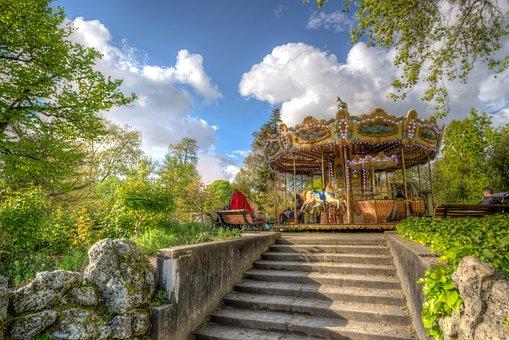 Park, Bordeaux, France, Carousel, Sunny, Spring