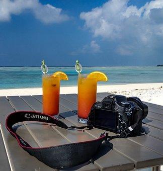 Canon, Cold Drinks, Sky, Camera, Beach, Holiday, Ice